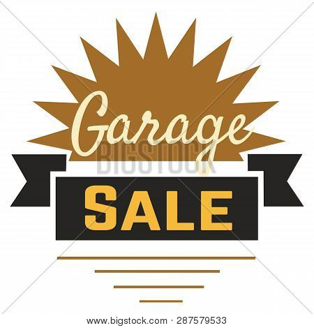 Garage Sale Sign Advertising Deals. Logotypes Template With Total Sale Vector Illustration. Special