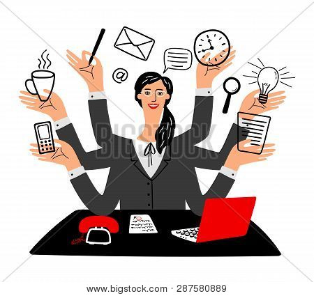 Secretary Vector Icon. Cartoon Secretaries Girl, Busy Happy Working Office Businesswoman With Laptop
