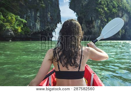 Girl Kayaking In The Beautiful Place In Krabi Province, Thailand