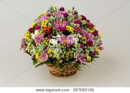 A Bunch Of Flowers Are Different. Flowers In A Basket