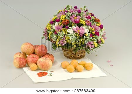 Flowers Bouquet And Apples, Apricots, Still Life