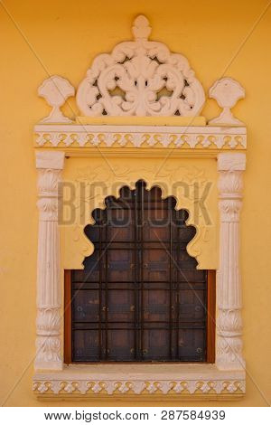 An Ancient, Old Window Having Architectural Details On It - City Of Lakes, Udaipur, Rajasthan, India