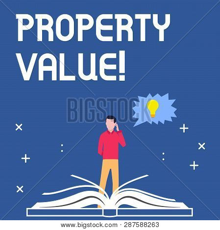 Handwriting text writing Property Value. Concept meaning Estimate of Worth Real Estate Residential Valuation. poster