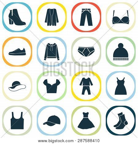 Garment icons set with gumshoes, sundress, baseball cap and other beanie elements. Isolated vector illustration garment icons. poster