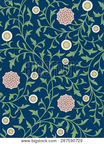 Vintage Floral Seamless Pattern On Dark Background. Middle Ages Style. Flowers, Whip Vines, Branches