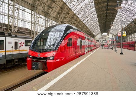 MOSCOW, RUSSIA - CIRCA MAY, 2018: Aeroexpress Train in Kiyevsky vokzal. Aeroexpress Ltd. is the operator of airport rail link services in Russia.