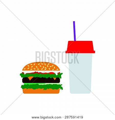 Fast Food Icon. Flat Color Design. Vector Illustration.