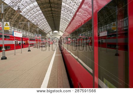 MOSCOW, RUSSIA - CIRCA MAY, 2018: Aeroexpress Trains in Kiyevsky vokzal. Aeroexpress Ltd. is the operator of airport rail link services in Russia.