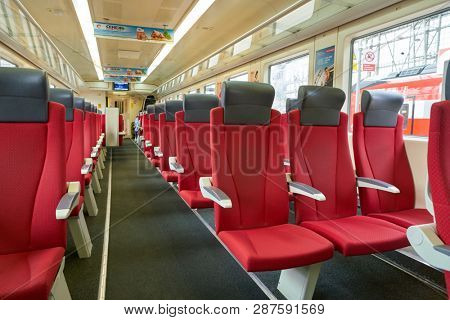 MOSCOW, RUSSIA - CIRCA MAY, 2018: inside Aeroexpress Train. Aeroexpress Ltd. is the operator of airport rail link services in Russia.