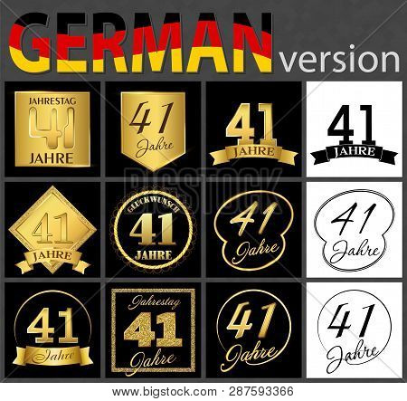 Set Of Number Forty-one Years (41 Years) Celebration Design. Anniversary Golden Number Template Elem