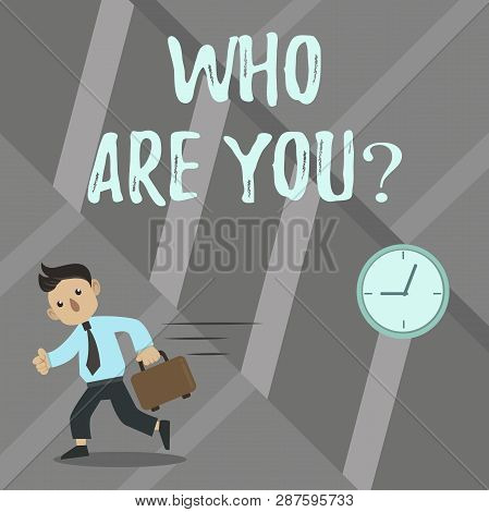 Word writing text Who Are You question. Business concept for Identify yourself demonstratingal characteristics. poster