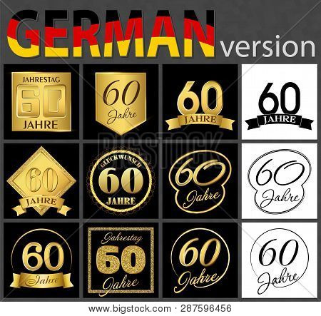Set Of Number Sixty Years (60 Years) Celebration Design. Anniversary Golden Number Template Elements