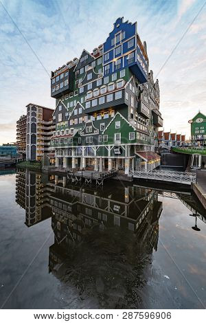 Zaandam, 20 January 2019 - Sunset On Building Made Of All Type Of Dutch Architectural Style Topped U