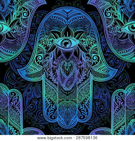 Seamless Pattern - Ornate Amulet Hamsa Hand Of Fatima. Ethnic Amulet Common In Indian, Arabic And Je