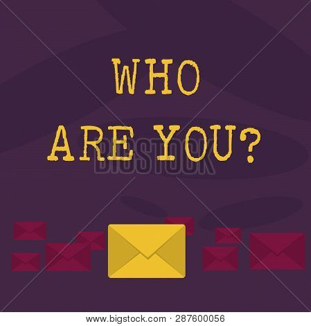 Conceptual hand writing showing Who Are You question. Business photo text Identify yourself demonstratingal characteristics. poster