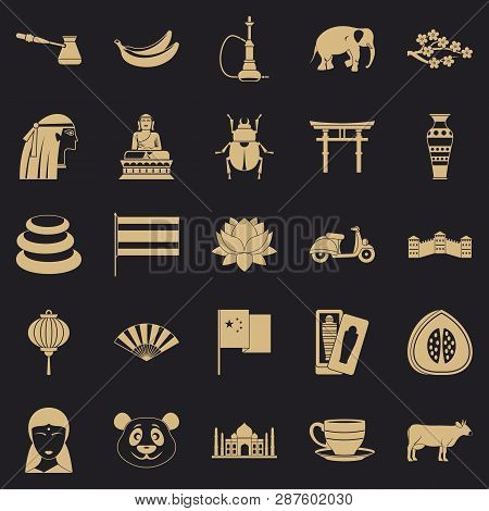Mysteries Of Asia Icons Set. Simple Set Of 25 Mysteries Of Asia Vector Icons For Web For Any Design