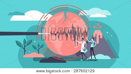 Geology Vector Illustration. Flat Tiny Volcano Earthquake Persons Concept. Signal Technology Study T
