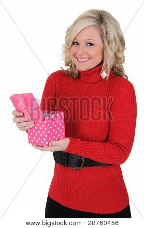 Young Woman With A Pink Gift Box 06