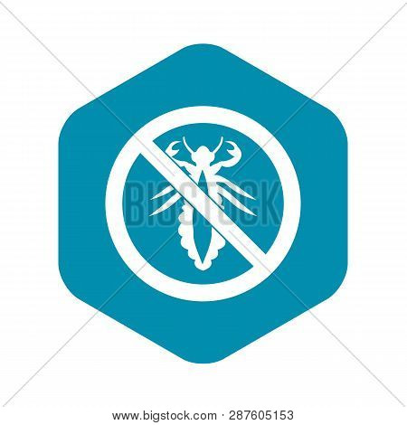 No Louse Sign Icon In Simple Style Isolated On White Background