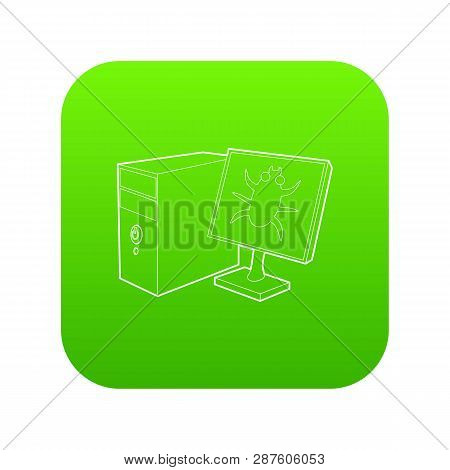 Bug On The Monitor Of Personal Computer Icon Green Vector Isolated On White Background