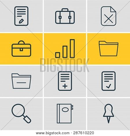 Vector illustration of 12 bureau icons line style. Editable set of folder, confirm, minus and other icon elements. poster