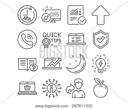 Set Of 48 Hours, Inspiration And Upload Icons. Web Lectures, Sales Diagram And Help Signs. Checked C