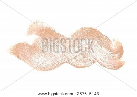 Smeared Liquid Make-up Foundation Isolated On White Background. Beauty Makeup Product Swatch Smear C