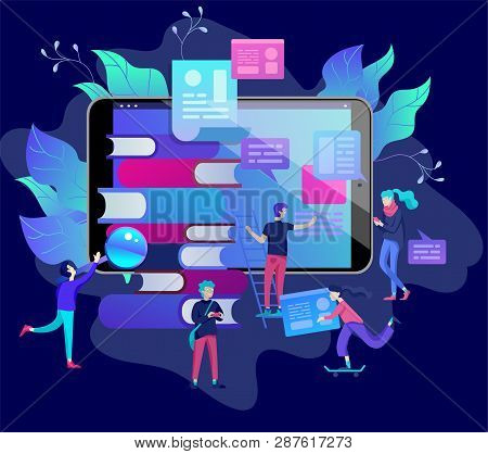 Concept Education People, Internet Studying, Online Training, Online Book, Tutorials, E-learning For