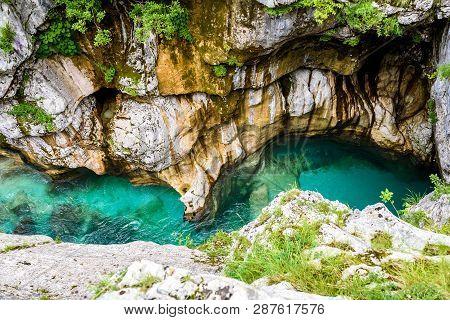Velika Korita Or Great Canyon Of Soca River, Bovec, Slovenia.