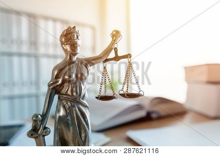Lady Justice Statue In Law Firm Attorney Office, Blindfolded Justitia With Balance Scales And Sword