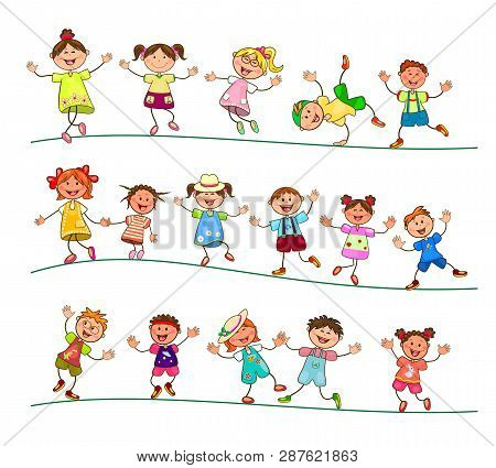 Group Of Cheerful, Smiling Children On A White Background. Cartoon Joyful Children. Group Of Happy,