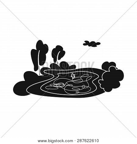 Vector Design Of Pond  And Ice Symbol. Set Of Pond  And Winter Stock Vector Illustration.