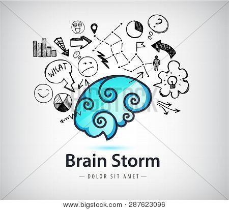 Vector Rainstorming Creative Idea Logo, Brain Icon With Doodle Hand Drawn Charts, Faces, Arrows. Inn