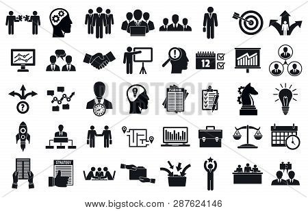 Business Planning Meeting System Icons Set. Simple Set Of Business Planning Meeting System Vector Ic