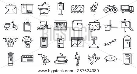 Mailman Carrier Icons Set. Outline Set Of Mailman Carrier Vector Icons For Web Design Isolated On Wh
