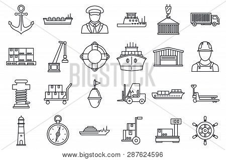 Marine Port Transport Icons Set. Outline Set Of Marine Port Transport Vector Icons For Web Design Is