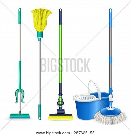 Mop Icons Set. Realistic Set Of Mop Vector Icons For Web Design Isolated On White Background