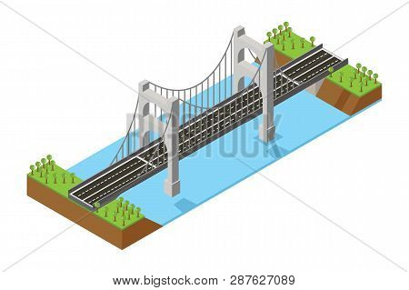 The bridge skyway of urban infrastructure is isometric for games, applications of inspiration and creativity. City transport organization objects in 3D dimensional form - Vector poster