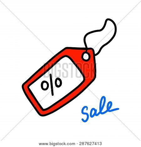 Sale Label Hand Drawn Illustration With Lettering Red And White