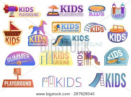 Kid Playground Outside Logo Set. Cartoon Set Of Kid Playground Outside Vector Logo For Web Design