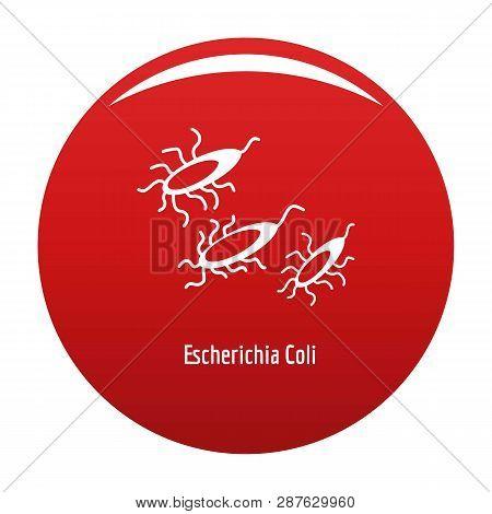 Escherichia Coli Icon. Simple Illustration Of Escherichia Colin Vector Icon For Any Design Red