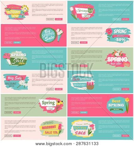 Spring Sale Advertisement Website Decorated By Bouquet Of Lilac, Tulip And Rose, Peony And Daisy. We