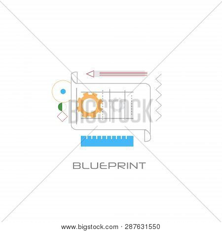 Architecture Building Project Design Development Blueprint Concept Line Style White Background