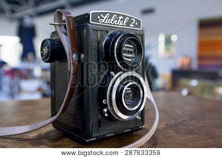 Kouvola, Finland - November 1, 2018: Vintage Twin Lens Camera Lubitel On The Table.