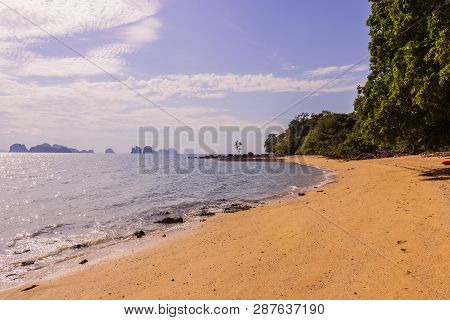 The Beautiful And Calm Beach On Shinty Day, Yao Noi Islands, Phang Nga Province, South Of Thailand.