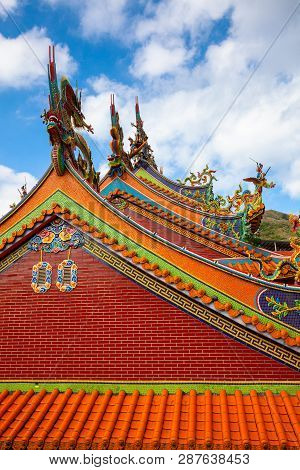 Architectural Details Of The Old Chinese Temple Located In Jiufen Village, Taiwan