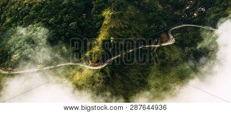 Panorama Of Nature. The Road Among Tea Plantations. The Road From The Quadcopter. Winding Road In Th