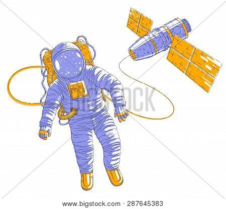 Spaceman Flying In Open Space Connected To Space Station, Astronaut Man Or Woman In Spacesuit Floati