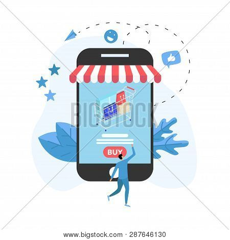 Online Shopping Concept With Smartphone, Shopping Basket And Man, Buying Online Store.