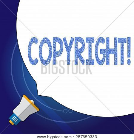 Text sign showing Copyright. Conceptual photo Saying no to intellectual property piracy. poster